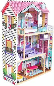 Chelsea Wooden Dollhouse 3 Levels Cottage With Furniture For Kids Playing Toys 7071260371370 Ebay