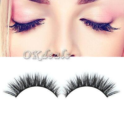 1 pair Fashion Women Makeup Handmade Mink Hair Long Eye Lashes False Eyelashes