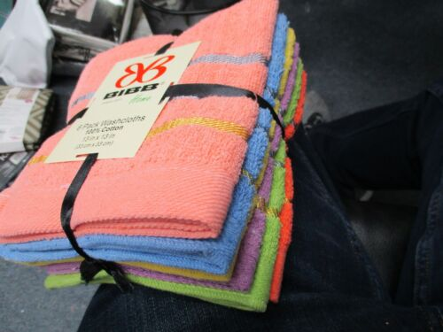 Large 13 inches x 13 inches BRIGHTS Set of 6 Bibb Home Wash Cloths 100/% Cotton
