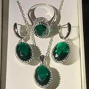 White-Gold-gf-Pendant-Chain-Dangle-Earrings-Ring-SET-Emerald-amp-CZ-BOXED-RRP-49
