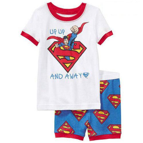 Toddler Kids Boys Superman Batman T-shirt Short Pants Set Sleepwear Nightwear