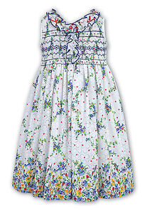 ce545abff72 sarah louise girl white/blue/yellow floral ruffle smocked dress age 6 yrs  ...