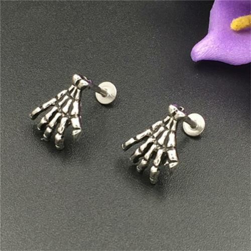 Stainless Skeleton Hand EYEBROW CARTILAGE Bar Barbell EAR Rings Piercing Jewelry
