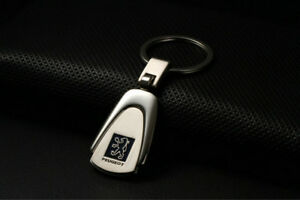 Embossed Stainless Steel Car Key Ring Keyring Chain  Great Fit for PEUGEOT