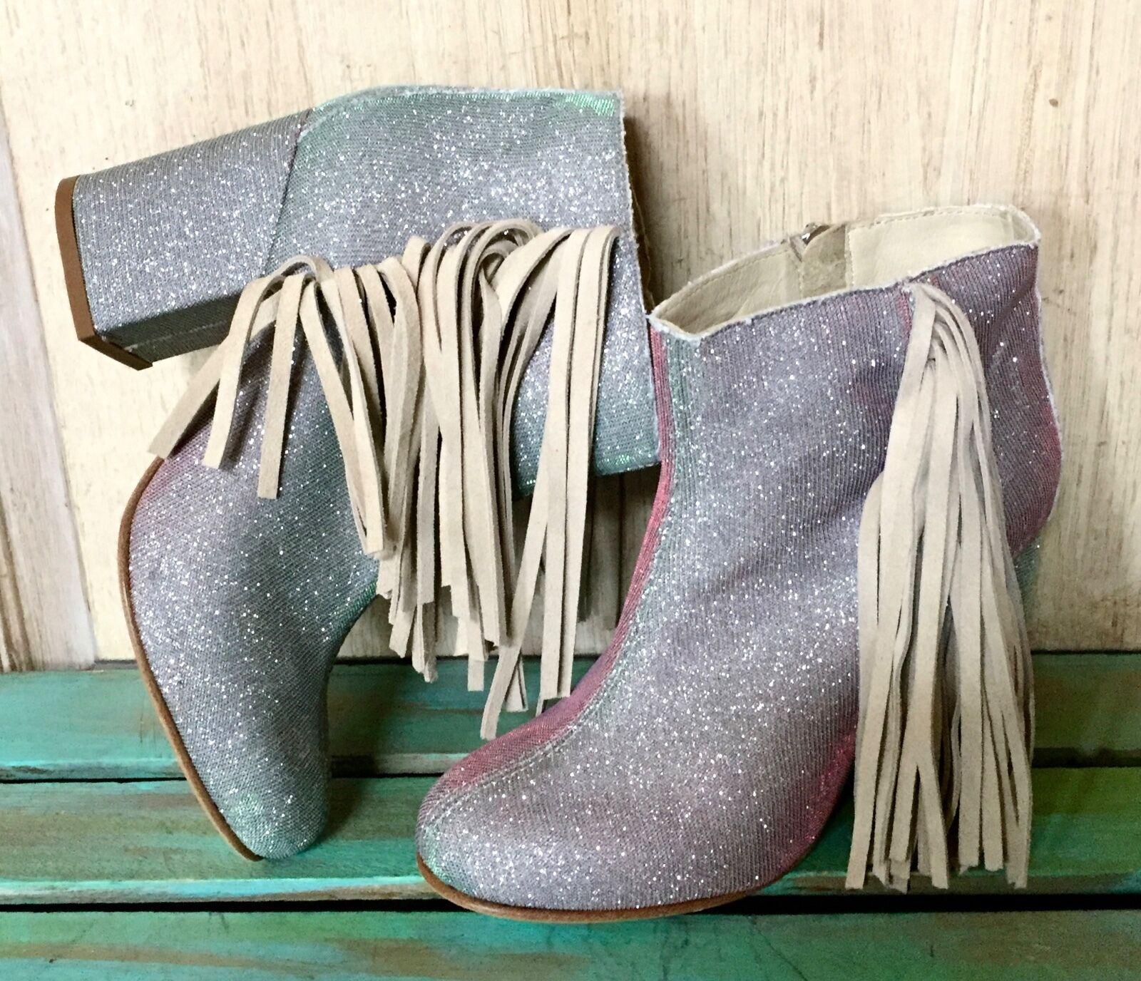 NEW Ouigal Silber Iridescent Stiefelies Suede Fringe Fringe Fringe Sides 37 6.5-7 29cc01