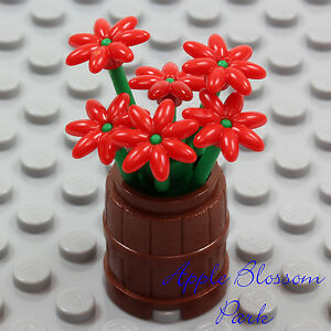 NEW Lego Friends Minifig FLOWER POT BARREL w/Red Daisy Flowers Green Plant Stems