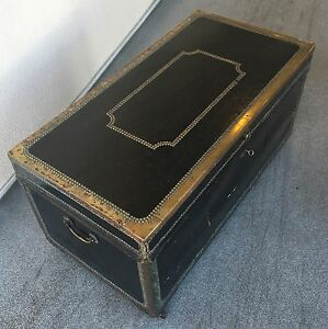 Antique-Camphor-Wood-And-Leather-Military-Campaign-Trunk