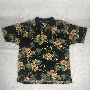 COOKE-STREET-Honolulu-Men-s-Hawaiian-Polo-Black-Floral-Cotton-Shirt-2XL