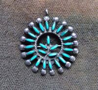 Vintage Sterling Silver Native American Zuni Turquoise Brooch Pendant Signed