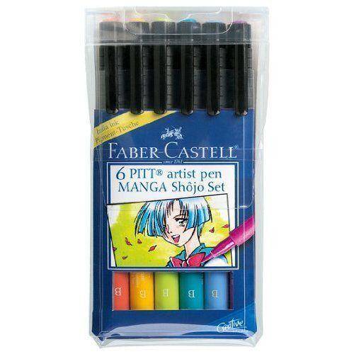 Faber Castell Pitt Artist Pen 6 Pen Wallet  MANGA SHOJO