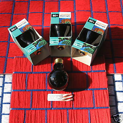 Box of 12 BLACKLIGHT blue BLACK light BULB 60w Deep Purple A19 SPOOKY HALLOWEEN