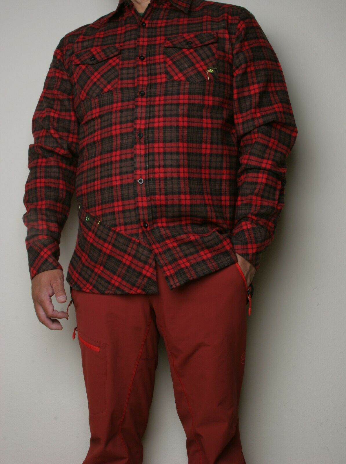 686 Alpha LS Flannel (L) RED L2S124-RED