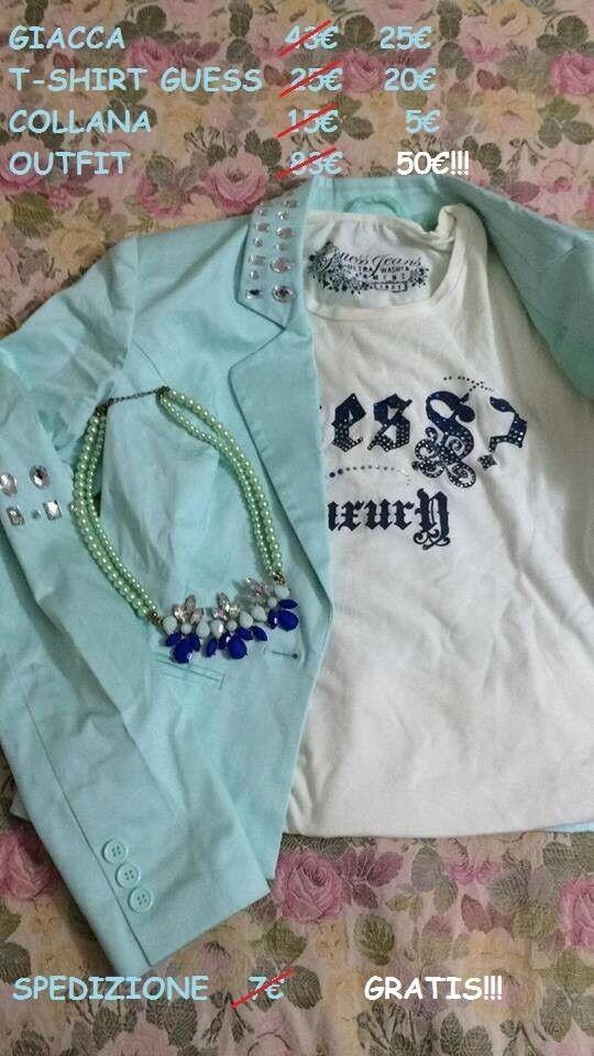 Outfit Of The Day: Blazer Verde Menta Gioiello In Cotone T Shirt Guess Collana Gioiello Menta 670bd9