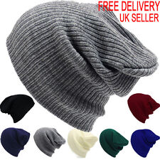 Mens Ladies Knitted Woolly Winter Slouch Beanie Hat Cap Skateboard One Size