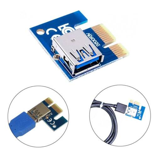 HighSpeed USB3.0 Port PCIe PCI Express 1x Extender Riser Card Adapter For Mining