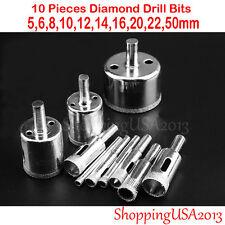 10pc 5-50mm Diamond Metal drill bit tool hole saw set glass ceramic marble tile*