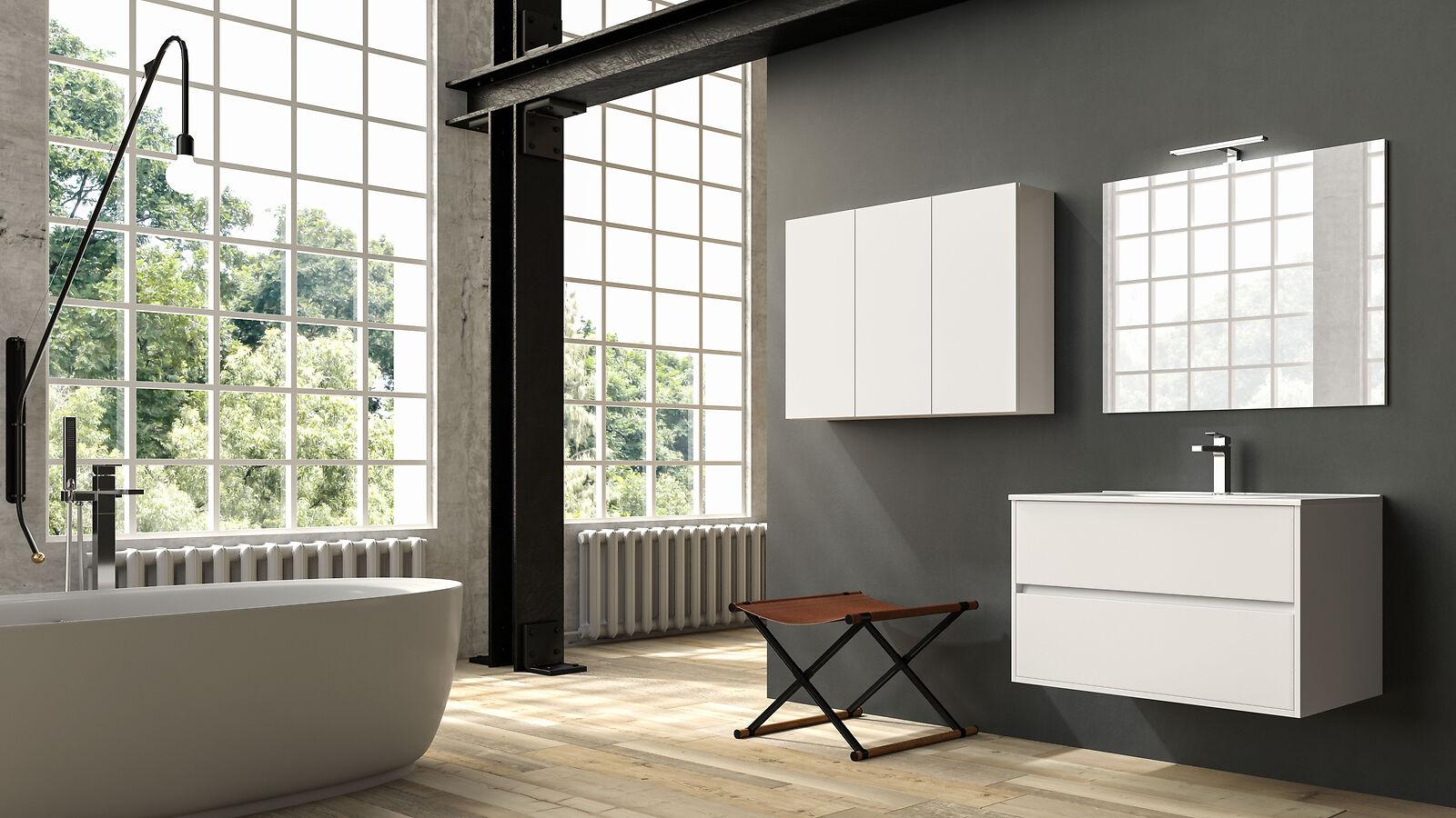 Rialto Design-Badmöbel 90cm Con Espejo O Mueble de Espejo 4 Superficies