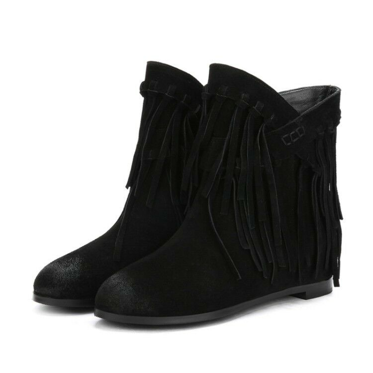 Autumn Winter Winter Winter New Women's Casual Retron Vogue Round Toe Tassel Suede Ankle Boots ee7d9e