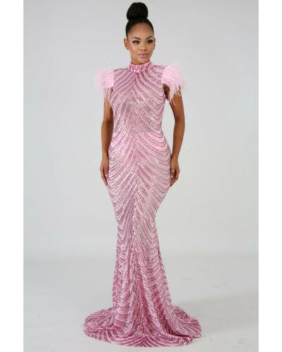 Pink Sequins Feather Dress   Prom Dress   Party Dr