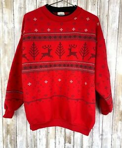 Artisans-Print-Embroidered-Ugly-Christmas-Deer-Isle-Holiday-Sweater-L-Large-VTG