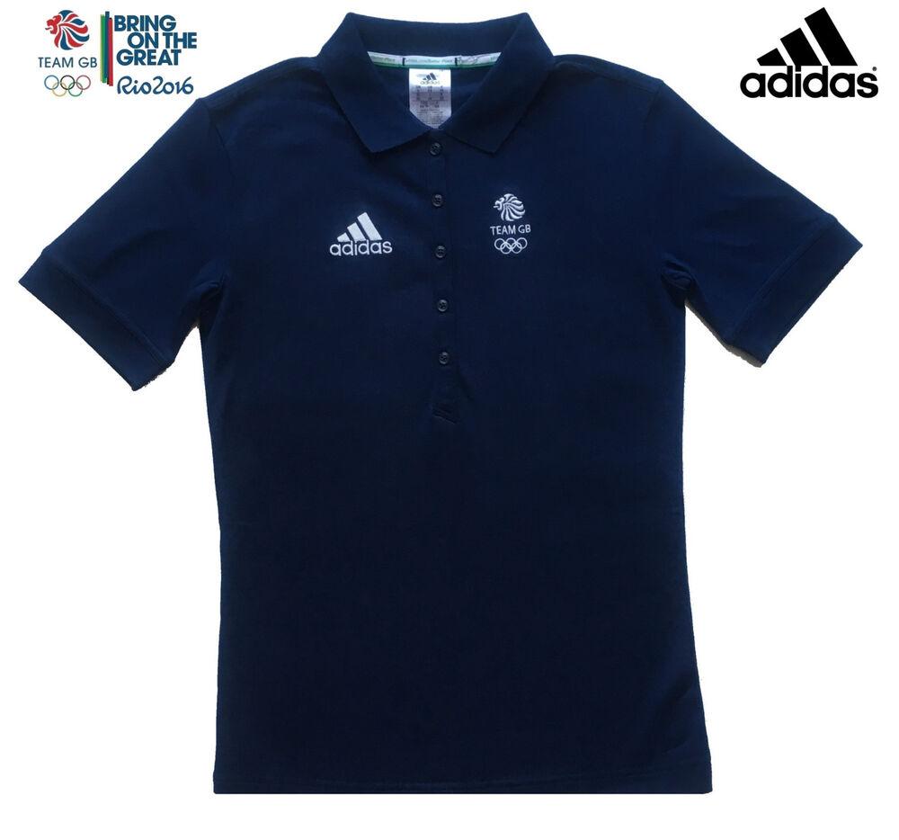 Adidas Team Gb Rio 2016 Elite Athlete Femmes Coton Bleu Marine Polo Shirt Taille 6