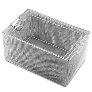 Set-of-3-Ybmhome-Silver-Mesh-Open-Bin-Storage-Basket-Organizer-2321-1116-198set