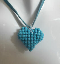 Lovely HEART Shaped Made From Little Stones Sky Blue Long Velvet Cord Necklace