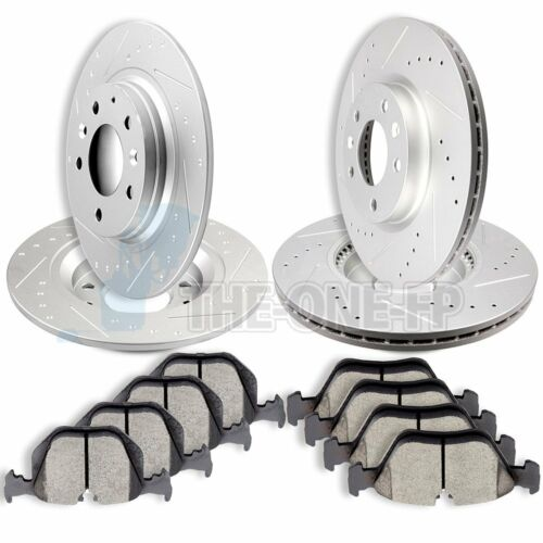 Front and Rear Drilled /& Slot Brake Rotors Ceramic Pads For  2006-2013 Mazda 6
