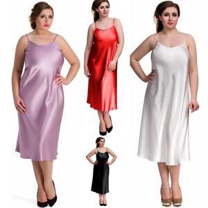 Nine-X-Womens-Long-Satin-Chemise-Plus-Size-Lingerie-S-6XL-Nightdress-Babydoll