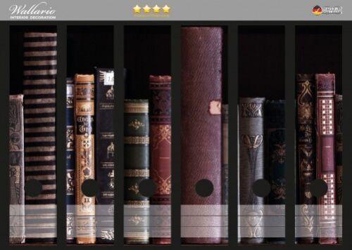 Wallario Ordnerrücken selbstklebend 6 breite Ordner Bücherregal alten Büchern