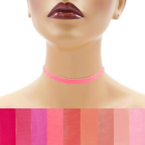 Pink-Velvet-Choker-3-8-inch-9-10-mm-wide-custom-adjustable-ribbon-necklace