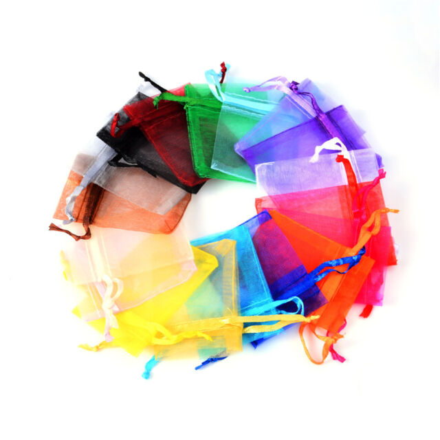 50//100pcs Organza Wedding Xmas Party Favor Gift Candy Bags Jewellery pouches