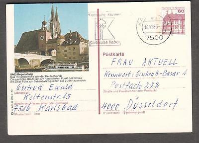 1983 Germany 8400 Regensburg postal card Karlsbad to