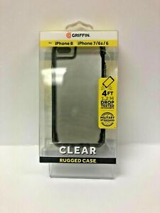 Genuine GRIFFIN Clear Rugged Case For Iphone 8, iphone 7, iphone 6s/6. Black.