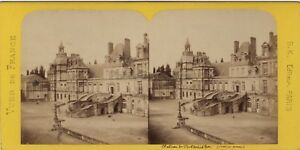 Château Da Fontainebleau Francia Foto Stereo BK Parigi Vintage Albumina Ca 1870