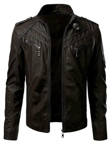Chaqueta para hombre Cuero Genuino Real Vintage Negro Marrón Slim Fit Biker Nuevo