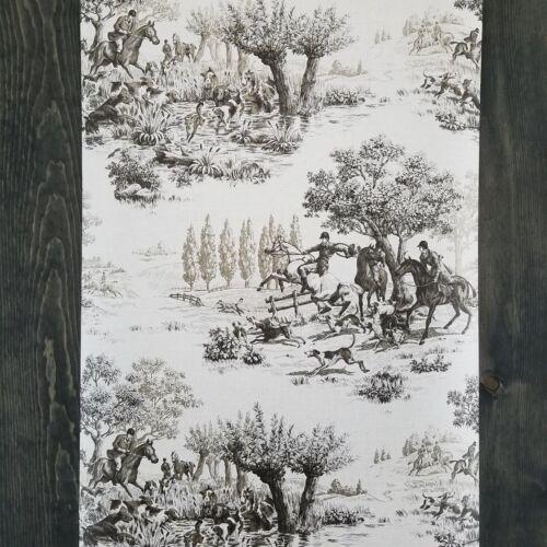 Wallquest Horse and Hound Hunting Equestrian Linen Tan Green Designer Wallpaper