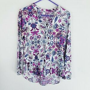 Old-navy-rayon-popover-v-beck-floral-blouse-Top-S-long-sleeve-white-pink-blue