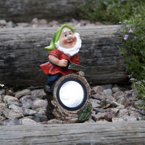LED Garten-Deko-Figur für Außen Gartenzwerg beim Sägen Solar-Leuchte-Lampe Gnomy