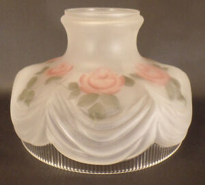 New-10-034-Coleman-Style-322-Glass-Lamp-Shade-Satin-Crystal-Painted-Roses-SH099