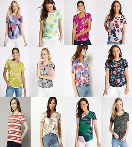 M-amp-S-Marks-Spencer-Mujeres-Floral-Manga-Corta-Cuello-Redondo-camiseta-Blusa-Prenda-para-el-torso
