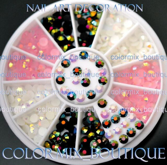 #R50 Nail Art Tip Decoration 3mm Black White Pink Glitter Resin Rhinestone+Wheel