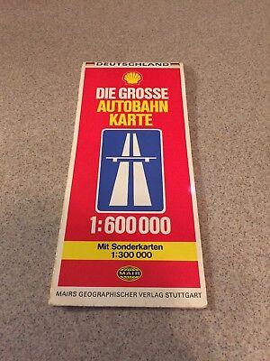 1977 Deutschland Mair Road Map Shell Gas Oil Die Grosse Autobahn