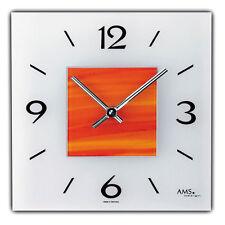 AMS Quarz - Wanduhr  kunsthandliche Glasgestaltung  rot/orange  Neu