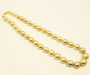 $9000 14mm Champagne / Light Gold South Sea Pearls Necklace 14kt
