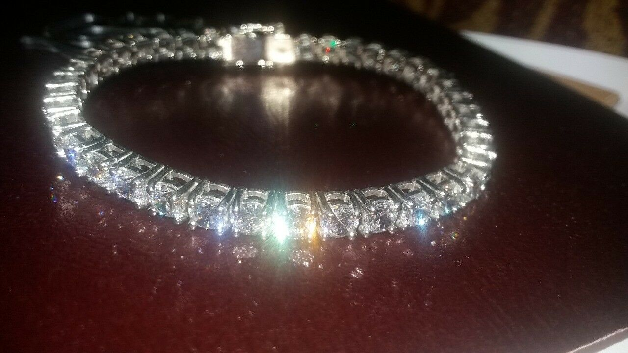 10 Ct S-Link Tennis Bracelet with Diamonds in 14k White gold Perfect Finish 925