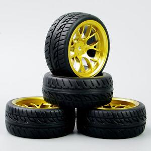4PCS-Run-Flat-neumaticos-amp-Rueda-Llanta-Dhg-Para-HSP-HPI-RC-1-10-de-carretera-velocidad-coche-de