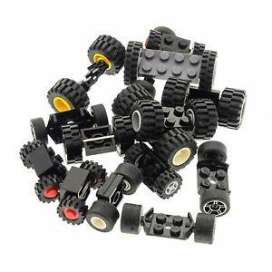 15-Lego-System-Lego-Achsen-30-Raedern-Rad-Raeder-Form-und-Farbe-zufaellig-gemischt