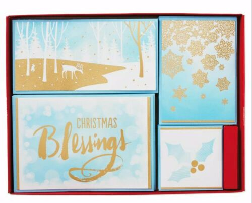 Boxed 40 Hallmark Golden Blessings Assorted Christmas Cards Snowflake Deer NIB