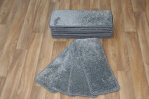 Details About 14 Carpet Stair Case Treads Vicace Grey 308 Saxony Large Pads  Stair Pads